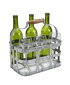 Rustic Farmhouse Bottle Carrier, 6 Wine Bottle Caddy