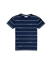 Toddler, Little and Big Boys Crew Neck Printed Stripe Cotton T-Shirt