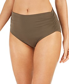 Ruched High-Waist Bikini Bottoms