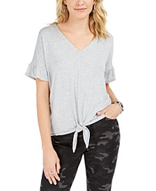Flutter-Sleeve Tie-Front Top, Created for Macy's