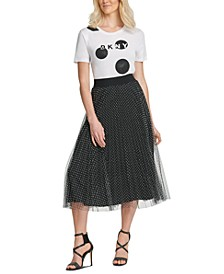 Flocked-Mesh Midi Skirt