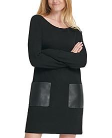 Faux-Leather-Pocket Sweater Dress