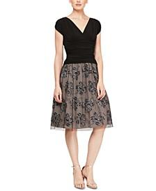 Embellished Floral-Print A-Line Dress