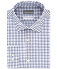 Men's Classic/Regular-Fit Non-Iron Airsoft Performance Stretch Check Dress Shirt