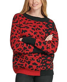 Colorblocked Leopard-Print Sweater