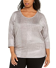 Plus Size Metallic Ribbed Dolman Top, Created For Macy's