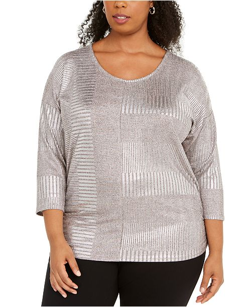 JM Collection Plus Size Metallic Ribbed Dolman Top, Created for Macy's