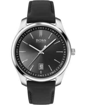 Boss Watches MEN'S CUFFLINK & CIRCUIT BLACK LEATHER STRAP BOXED WATCH 42MM GIFT SET