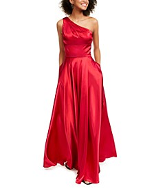 Juniors' One-Shoulder Strappy Satin Gown