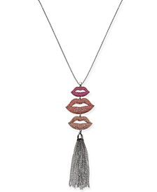 "Silver-Tone Pavé Lip & Chain Tassel 32"" Pendant Necklace, Created For Macy's"
