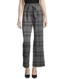 Plaid Tie-Front Pull-On Pants