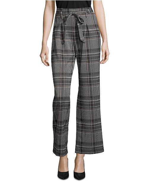 John Paul Richard Plaid Tie-Front Pull-On Pants