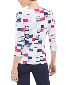 3/4-Sleeve Printed Jacquard T-Shirt, Created For Macy's