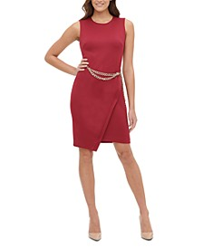 Asymmetrical-Hem Chain Sheath Dress