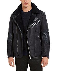 A|X Armani Exchange Men's Fleece Lined Faux-Leather Jacket