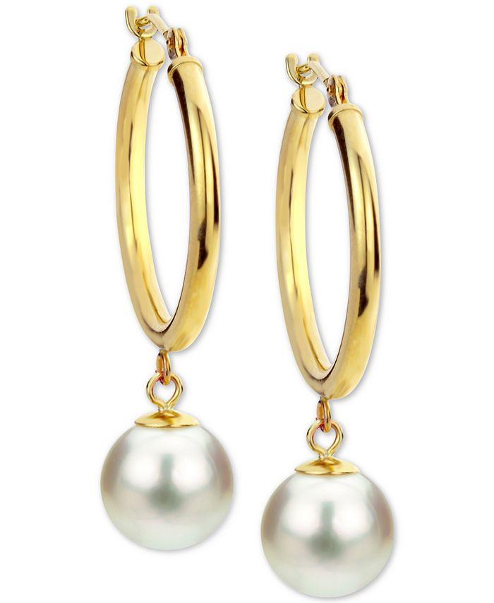 Macy's - Cultured Freshwater Pearl (8mm) Dangle Hoop Earrings in 14k Gold