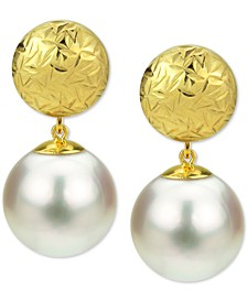 Cultured Freshwater Pearl (9mm) Ball Stud Drop Earrings in 14k Gold
