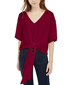 Juniors' Tie-Front Waffle-Knit Top