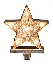 "7.50"" H Marquee LED Wooden Star Stocking Holder"