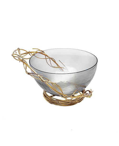 Classic Touch Salad Bowl with Gold Tone Twig Design