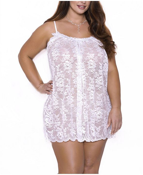 iCollection Plus Size Willow Lace Chemise Nightgown, Online Only