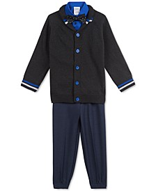 Little Boys 4-Pc. Shawl-Collar Sweater, Shirt, Bow Tie & Pants Set