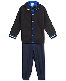 Calvin Klein Little Boys 4-Pc. Shawl-Collar Sweater, Shirt, Bow Tie & Pants Set