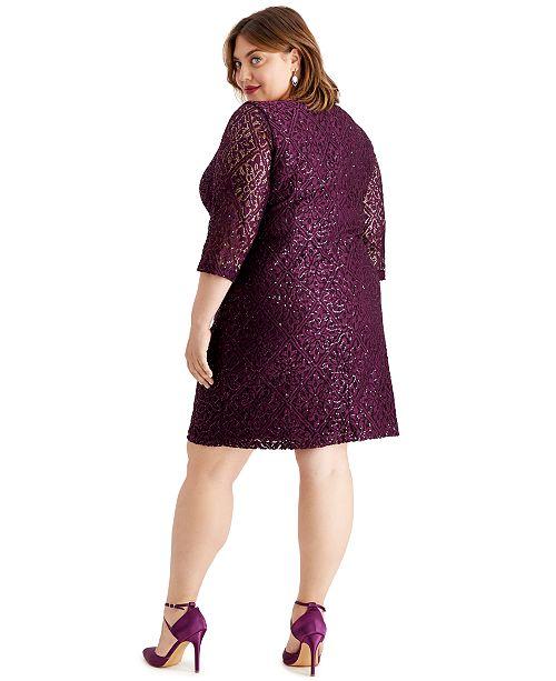Plus Size Disco Dot Lace Dress