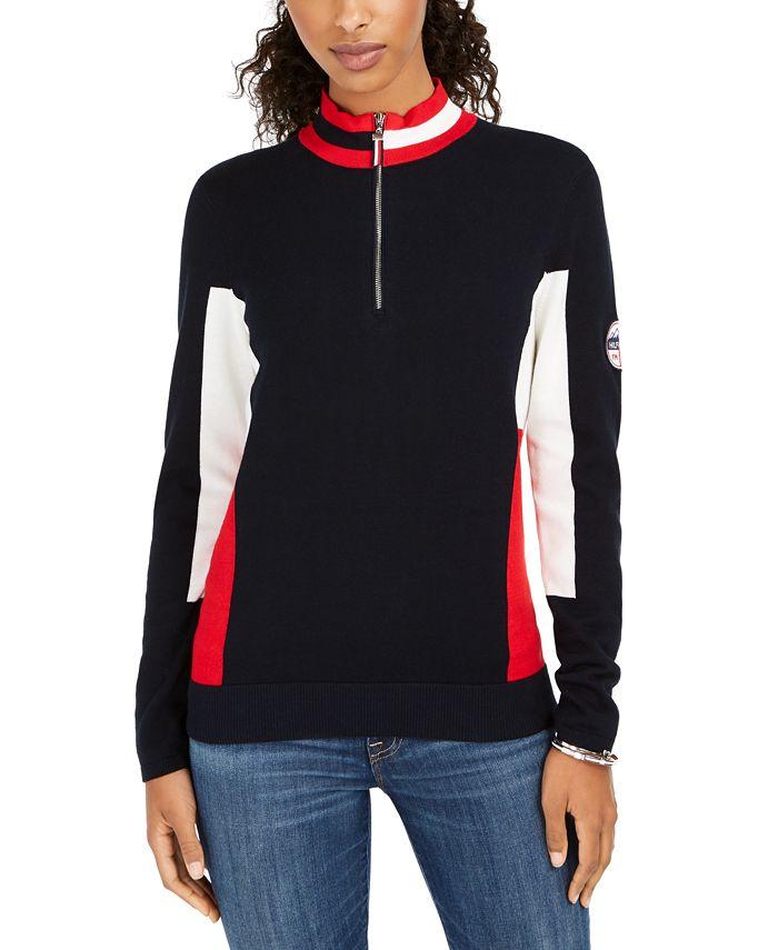 Tommy Hilfiger - Cotton Mock-Neck Flag Sweater
