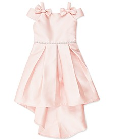 Little Girls Bow-Trim High-Low Dress