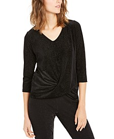 Metallic-Stripe Twist-Front Top, Created For Macy's