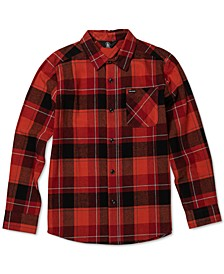 Big Boys Cotton Modern-Fit Flannel Plaid Shirt