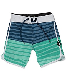 Toddler & Little Boys Striped Swim Trunks