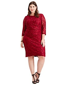 Plus Size Ruched Embellished Lace Dress