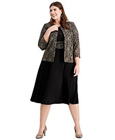 Plus Size Shine-Print Dress & Jacket