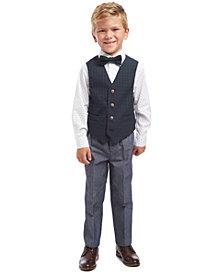 Nautica Little Boys Regular-Fit 4-Pc. Green Tartan Vest Set