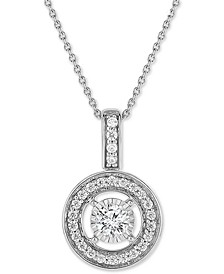 "TruMiracle® Diamond Open Halo 18"" Pendant Necklace (1/2 ct. t.w.) in 14k White Gold"