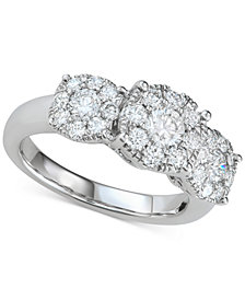 Diamond Triple Cluster Filigree Engagement Ring (1-1/2 ct. t.w.) in 14k White Gold