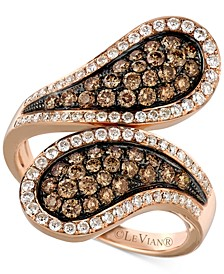 Chocolatier® Diamond Cluster Bypass Statement Ring (1-1/6 ct. t.w.) in 14k Rose Gold