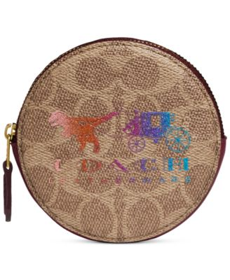 Coated Canvas Signature Rexy And Carriage Round Coin Case, Created For Macy's