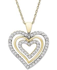 "Diamond Multi-Heart 18"" Pendant Necklace (1/2 ct. t.w.) in 10k Gold"