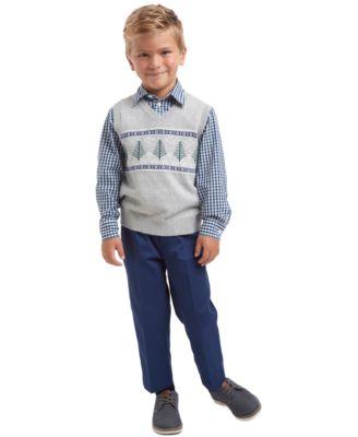 Little Boys 3-Pc. Winter Tree Fair Isle Sweater Vest, Check Shirt & Pants Set