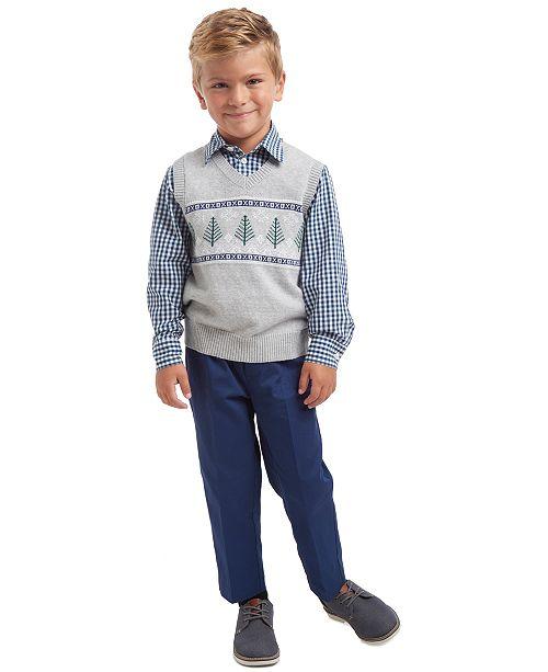 TFW Little Boys 3 Pc. Winter Tree Fair Isle Sweater Vest