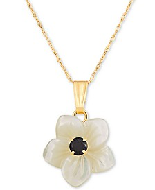 "Mother-of-Pearl & Lab-Created Ruby (0.15 ct. t.w.) 18"" Pendant Necklace in 10k Gold (Also in Lab-Created Sapphire)"
