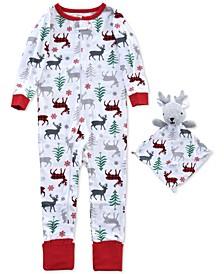 Baby Boys 2-Pc. Reindeer-Print Coverall Pajama & Reindeer Blankie Buddy Set