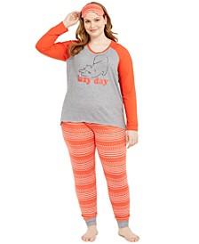 Plus Size 3-Pc. Knit Pajamas & Sleep Mask Set, Created For Macy's