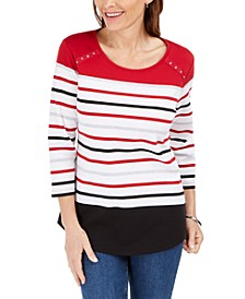 Rivet-Trim Scoop-Neck Top, Created for Macy's