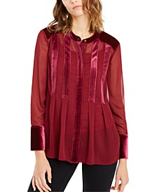 Velvet-Trim Button-Front Top, Created For Macy's
