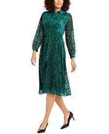 Velvet Burnout Belted Shirtdress, Created For Macy's