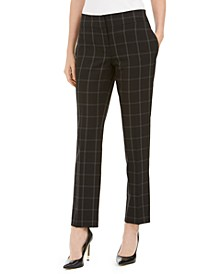 Petite Windowpane-Plaid Dress Pants